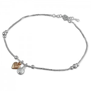 Sterling Silver Bead Chain with Rose Plated Heart/Ladybird Charm