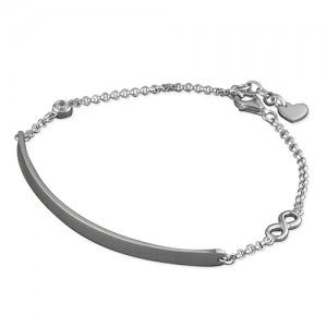 Sterling Silver Rhodium ID Infinity Bracelet