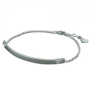 Sterling Silver Rhodium Plated Cubic Zirconia Heart ID Bracelet
