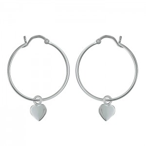 Sterling Silver Heart Charm Hoop Earrings