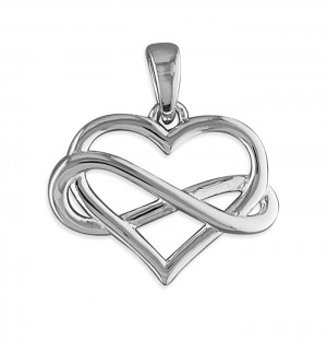"Sterling Silver Infinity Entwined Heart Pendant & 18"" chain"