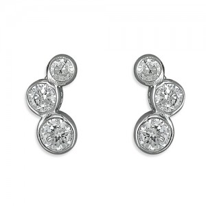 Sterling Silver Three Rubover Graduated Cubic Zirconia Stud Earrings