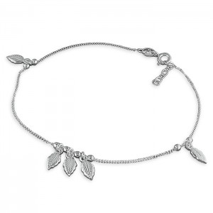 Sterling Silver 5 Leaf and Bead Anklet