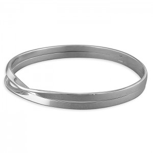Sterling Silver Double Row Split Twist Bangle