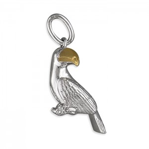 "Sterling Silver Toucan with Gold Plated Beak Pendant & 18"" Chain"