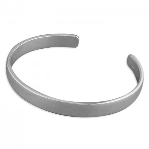 Sterling Silver 8mm Wide Plain Torque Bangle