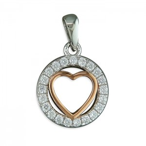 "Sterling Silver Rose Gold Plated Heart in Cubic Zirconia Circle Pendant & 18"" Chain"