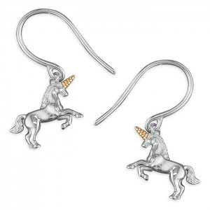 Sterling Silver Unicorn with Gold Plated Horn Hook Drop Earrings