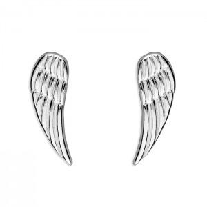 Sterling Silver Plain Angel Wing Stud Earrings