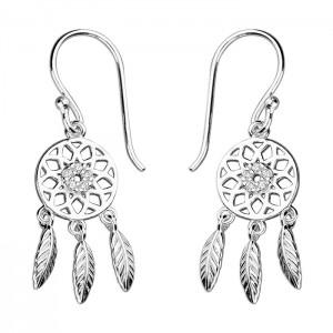 Sterling Silver Cubic Zirconia Dream Catcher Hook Drop Earrings