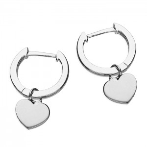 Sterling Silver Huggie Hoop with Heart Earrings