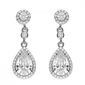 Sterling Silver Micro-Set Cubic Zirconia Halo with Pear Cubic Zirconia Halo Drop Earrings