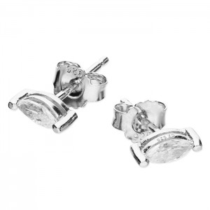 Sterling Silver Marquis Cubic Zirconia Stud Earrings