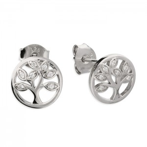 Sterling Silver Cubic Zirconia Tree of Life Stud Earrings