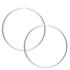 Sterling Silver 60mm Embossed Sleeper Hoop Earrings