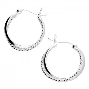 Sterling Silver 20mm Crossover Fancy/Plain Hoop Earrings