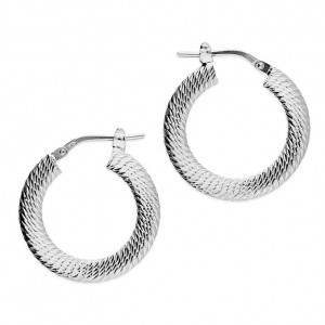 Sterling Silver 20mm Diamond-Cut Hoop Earrings