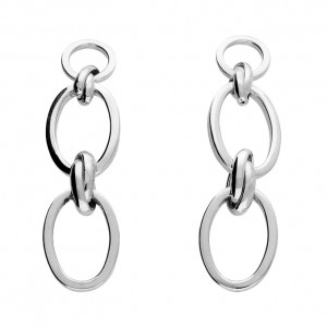 Sterling Silver Double Oval Links with Knot Detail Drop Earrings