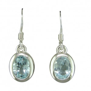Sterling Silver Oval Blue Topaz Drop Earrings