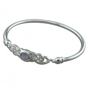 Sterling Silver Fancy Celtic Oval Amethyst Bangle