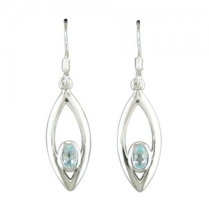 Sterling Silver Teardrop Blue Topaz Drop Earrings