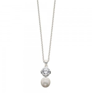 "Sterling Silver Cubic Zirconia & Freshwater Pearl Drop Pendant & 18"" Chain"