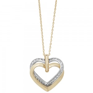 "9ct Two-Colour White/Yellow Gold Double Open Heart CZ 18"" Necklace"