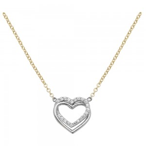 "9ct Gold Double Open Heart CZ 18"" Necklace"