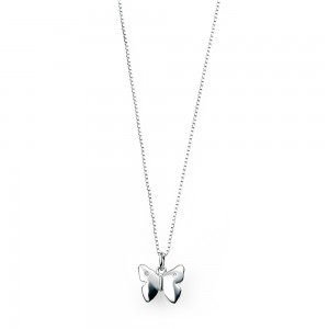 D for Diamond Silver Butterfly Pendant