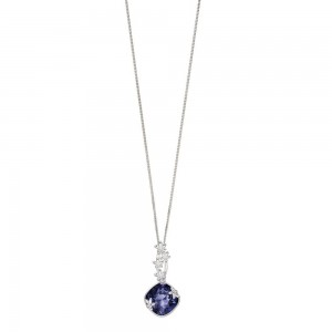 "Sterling Silver Tanzanite Swarovski Crystal Flower Pendant & 18"" Chain"