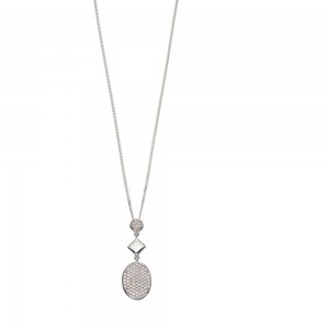 """Sterling Silver Oval Pave Cubic Zirconia Drop Pendant & 18"""" Chain"""