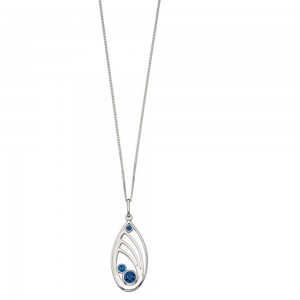 "Sterling Silver Blue Swarovski Crystal Open Teardop Pendant & 18"" Chain"