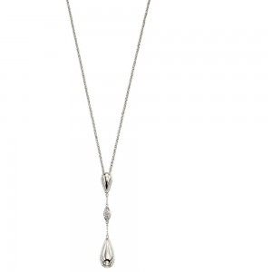 "P4676C Sterling Silver Cubic Zirconia Pave Teardrop Drop Pendant & 18"" Chain"