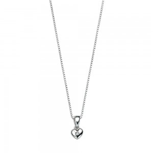 D for Diamond Silver Heart Pendant