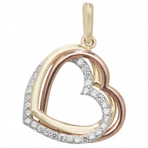 9ct Tri Colour Gold Open Heart Pendant
