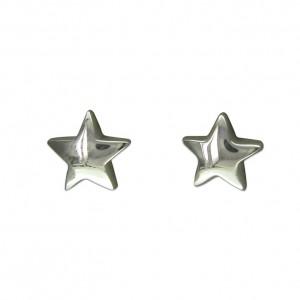 Sterling Silver Plain Star Stud Earrings