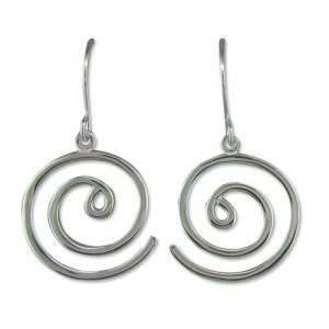 Sterling Silver Open Spiral Drop Earrings
