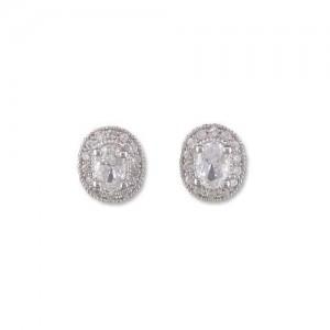 Sterling Silver Oval Cubic Zirconia Earrings