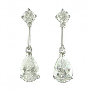 Sterling Silver Teardrop Cubic Zirconia Drop Earrings