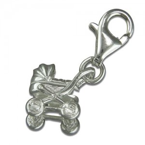 Sterling Silver Clip-On Pram Charm