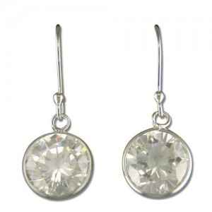 Sterling Silver Round Cubic Zirconia Hook-In Drop Earrings