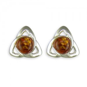Sterling Silver Celtic Amber Stud Earrings