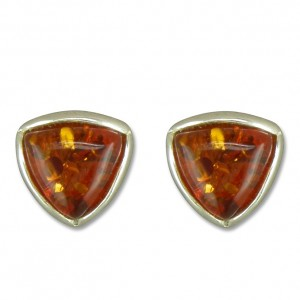 Sterling Silver Triangle Amber Stud Earrings