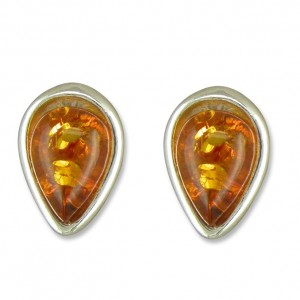 Sterling Silver Teardrop Amber Stud Earrings