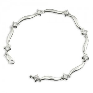 Sterling Silver Cubic Zirconia and Wave Link Bracelet