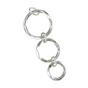 "Sterling Silver Graduated Triple Beaten Rings Pendant &18"" Chain"