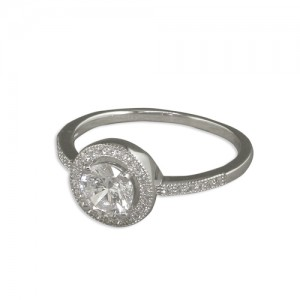 Sterling Silver Micro Set Cubic Zirconia Halo Ring