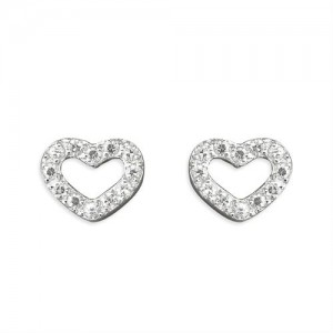 Sterling Silver Cubic Zirconia Open Heart Stud Earrings-r8325/C