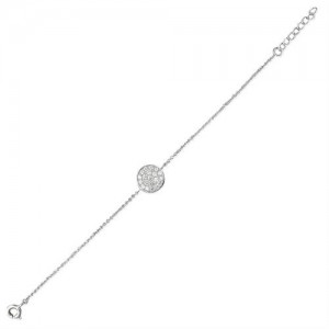 Sterling Silver Cubic Zirconia Disc Bracelet
