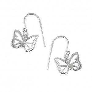 Sterling Silver Open Butterfly Drop Earrings